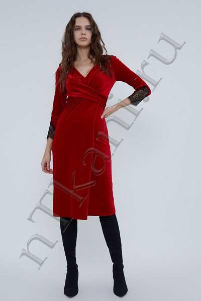 бархатное платье с запахом