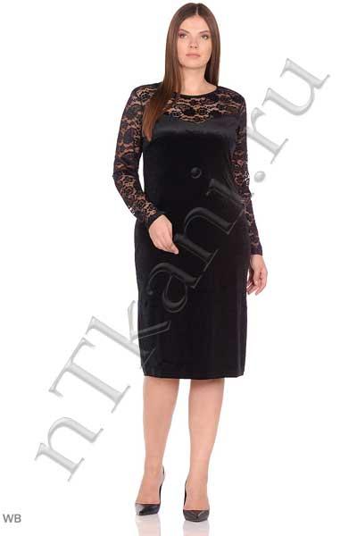 бархатное платье с кружевом для полных