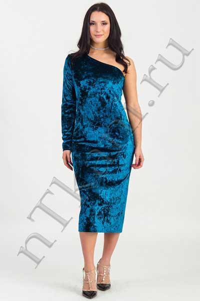 синее бархатное платье