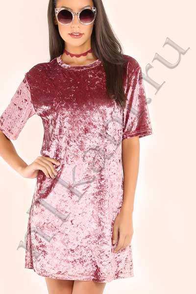 розовое бархатное платье