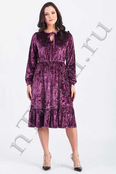 фиолетовое бархатное платье