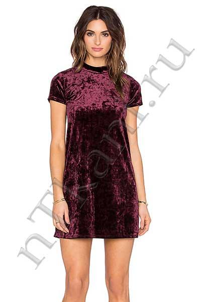 платье бархатное с повышенной талией