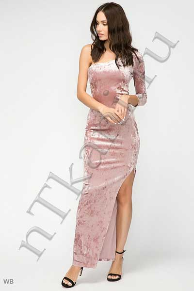 платье из бархата с одним рукавом