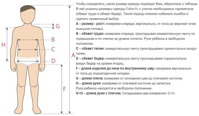 Размерная сетка школьной формы для мальчиков Фаберлик