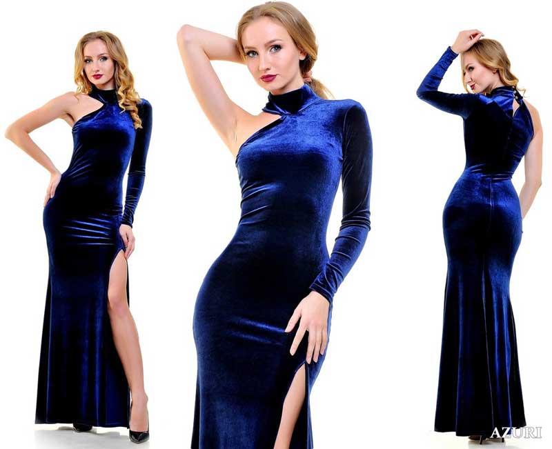 велюровое платье с одним рукавом