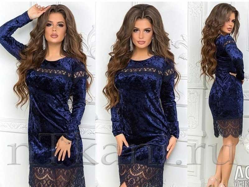 велюровые платья с кружевом