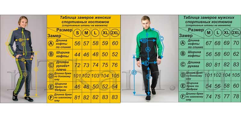 размеры спортивных костюмов