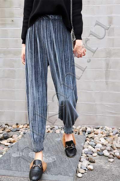 Плиссированные бархатные брюки