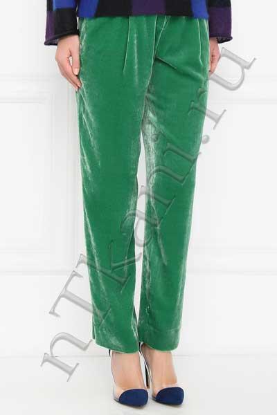 Зеленые бархатные брюки