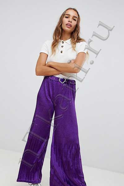 Фиолетовые бархатные брюки