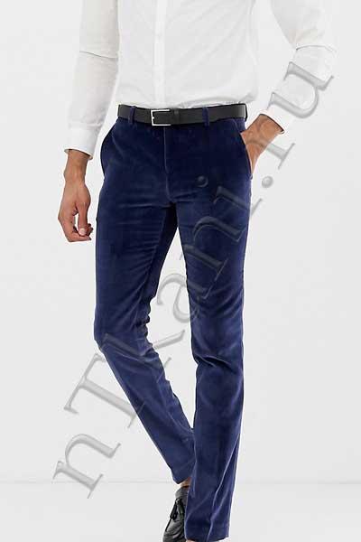 Синие бархатные штаны