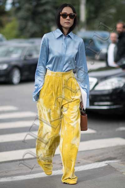 Желтые бархатные брюки