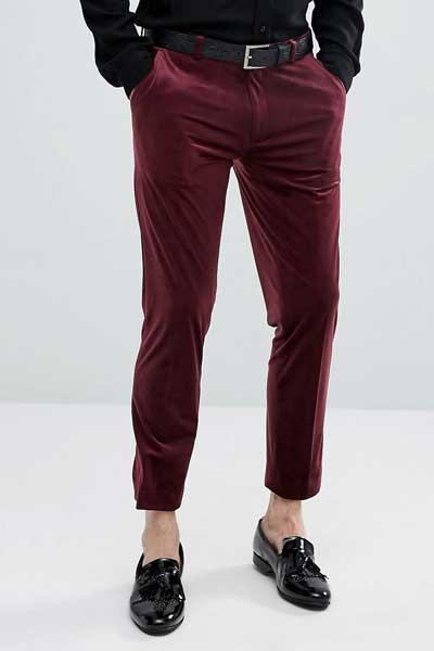 бордовые вельветовые брюки