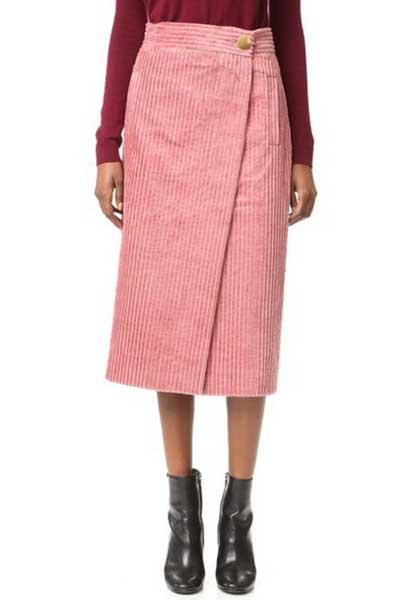 вельветовая юбка с запахом
