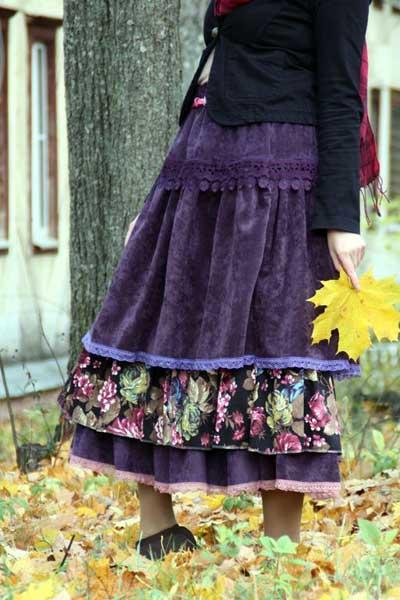 вельветовая юбка Бохо