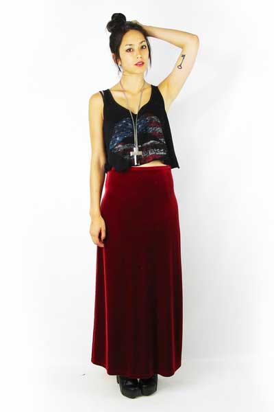 вельветовая юбка Макси
