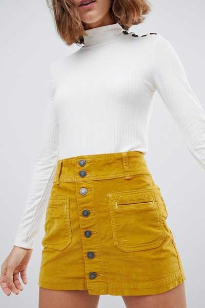 вельветовая юбка мини