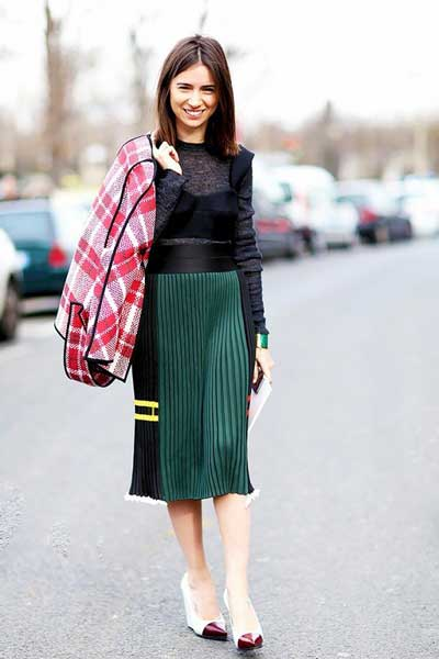 с чем носить вельветовую юбку