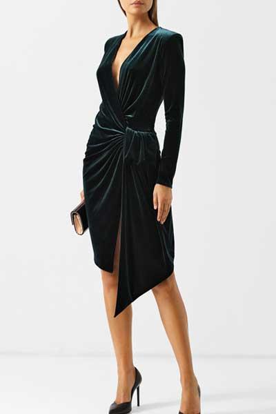 вельветовое платье асимметричный крой