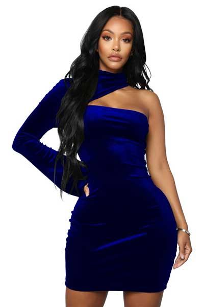вельветовое платье один рукав