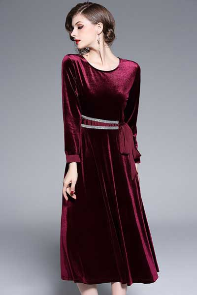 вельветовое платье А-силуэт