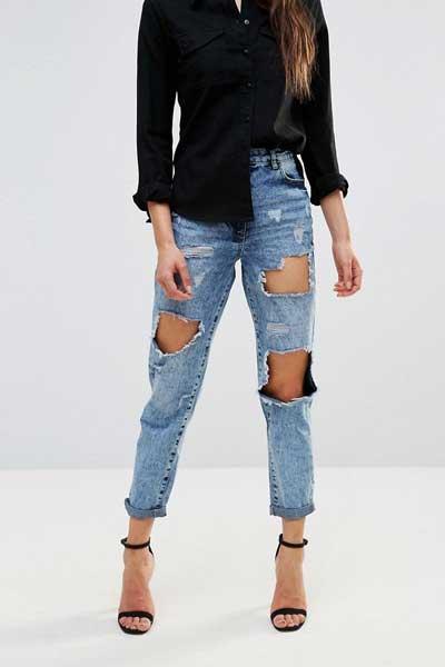 джинсы бойфренды рваные