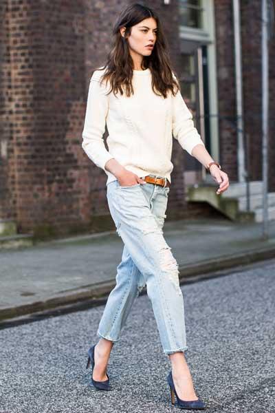 Укороченные джинсы бойфренды