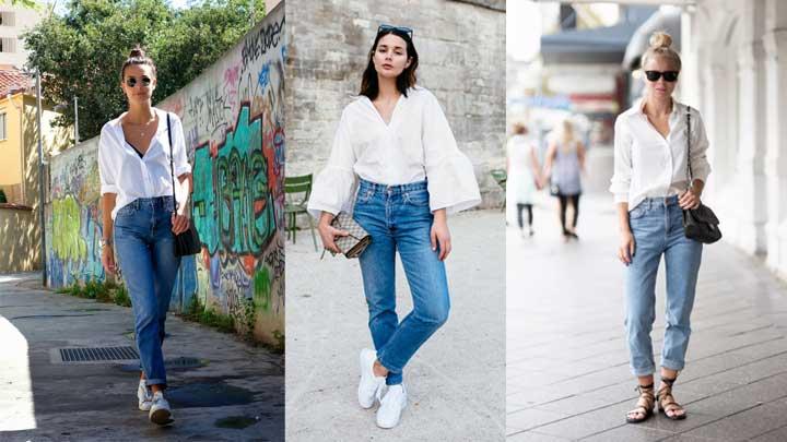 джинсы мом с рубашкой