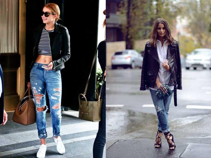 куртки-косухи с джинсами мом