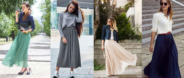 С чем носить плиссированные юбки макси